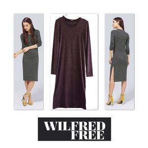 Wilfred Free Long Sleeve Jersey Midi Dress Medium